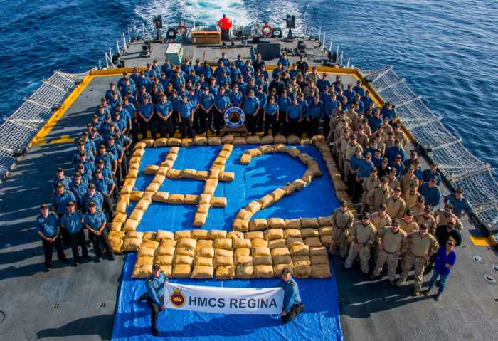 HMCS Regina and crew show off the first of two recent drug busts made in the north-western Indian Ocean. Pictures: CTF 150, featured in Africa PORTS & SHIPS maritime news