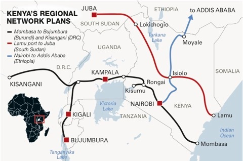 Kenya and neighbouring states' proposed SGR routes, featured in Africa PORTS & SHIPS maritime news