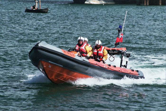 Example of a typical Rigid Inflatable Boat - this one of the RNLI in the UK, featured in Africa PORTS & SHIPS maritime news, picture Wikipedia Commons