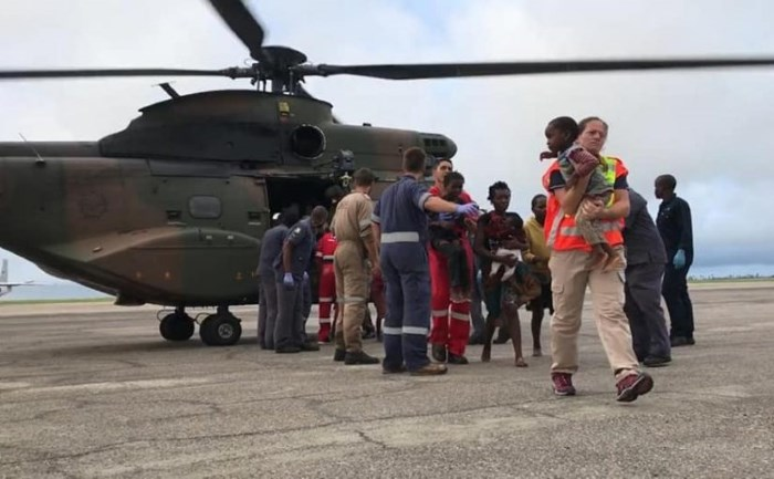 South African Air Force Oryx helicopter on the tarmac at Beira Airport after another rescue mission in Mozambique, featured in Africa PORTS & SHIPS maritime news