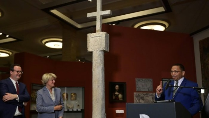 The Cape Cross padrao at the museum in Germany, featured in Africa PORTS & SHIPS maritime news online