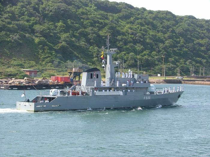 Kenya Navy patrol ship KNS Shupavu P3130 on a visit to Durban in 2004. Picture by Terry Hutson, featured in Africa PORTS & SHIPS maritime news online