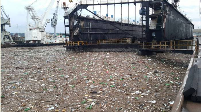 Nothing new - this was taken in July 2016 after heavy rains filled the Bayhead area with the rubbish of surrounding districts that washed into one of the rivers flowing into Durban Bay. Picture: Terry Flynn, featured in Africa PORTS & SHIPS maritime news online
