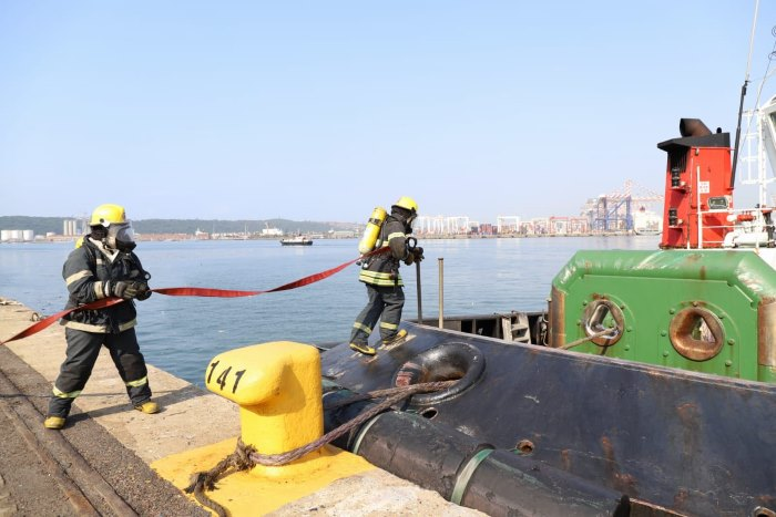 Demonstrations of safety drills were part of the day's events. Featured in Africa PORTS & SHIPS maritime news