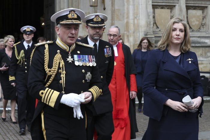 Secretary of State for Defence, The Rt Hon Penny Mordaunt MP (right), seen here with the First Sea Lord and Chief of Naval Staff, Admiral Sir Philip Jones KCB ADC (left), leaving the Service at Westminster Abbey in London, to mark 50 years of Britain's nuclear deterrent submarine patrols. Picture: MoD Crown Copyright 2019 ©, featured in Africa PORTS & SHIPS maritime news online
