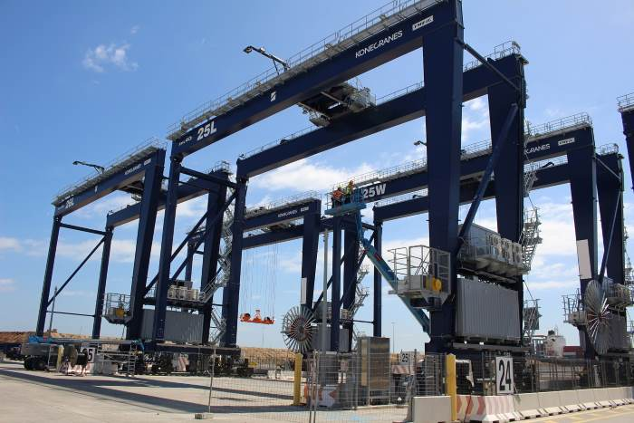 Automated shipping cranes at Hutchison's BEST terminal (Barcelona), featured in Africa PORTS & SHIPS maritime news online