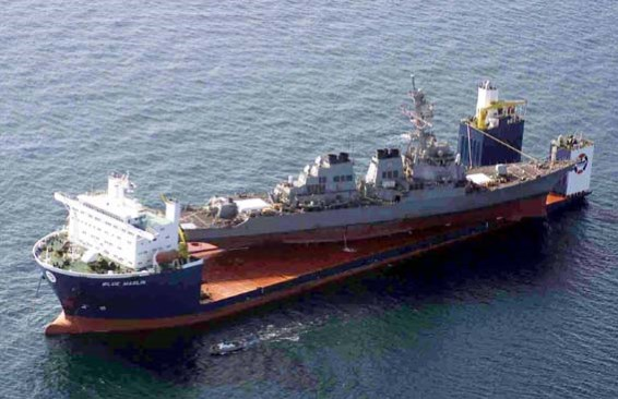 The semi-submersible Blue Marlin with one of her most famous 'lifts', the US Navy Arleigh-class guided missile destroyer USS Cole on 12 October 2000, after USS Cole was severely damaged in an Al-Qaeda attack in Aden harbour. Seventeen US Navy sailors died in the attack and another 39 suffered injuries. After being returned to the United States on board Blue Marlin, USS Cole was repaired and has returned to service, featured in Africa PORTS & SHIPS maritime news online