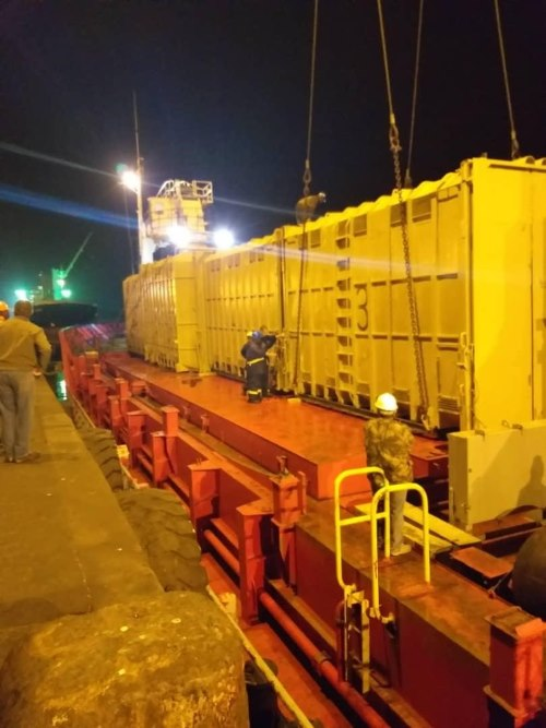 Elephants loaded into special containers for their journey to a DRC port, featuring in Africa PORTS & SHIPS maritime news online