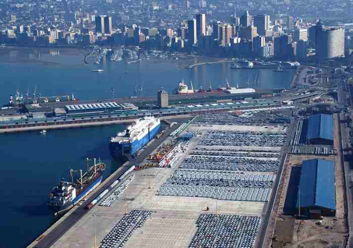 "Another view of the City Terminal (Point Docks) side of the Durban Car Terminal which operates off of four berths on either side of the T-jetty. Picture by Steve McCurrach<a href=""http://www.airserv.co.za""> www.airserv.co.za</a>, featured in Africa PORTS & SHIPS maritime news"