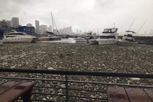 Nothing new! This was the scene at Easter this year after heavy rains filled the harbour with rubbish that flowed into the bay from three rivers and countless drains that spill into sub-Saharan Africa's most important economic harbour. Picture: TNPA, featured in Africa PORTS & SHIPS maritime news online