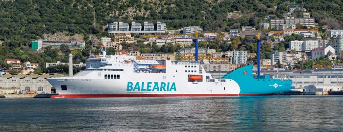 The converted Nápoles alongside at Gibdock before reentering service with Baleària. Photo: Gibdock ©, featured in Africa PORTS & SHIPS maritime news online