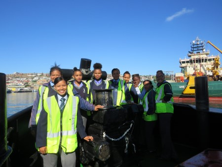 Grade 9, 10 and 11 girls from Groot-Brakrivier Secondary School at the Port of Mossel Bay, featured in Africa PORTS & SHIPS maritime news online