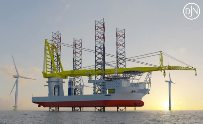 Artist's depiction of the new jack-up rig vessel for turbine installation to be built for the Jan de Nul Group. Picture: Jan de Nul / Knud E. Hansen, featued in Africa PORTS & SHIPS maritime news online