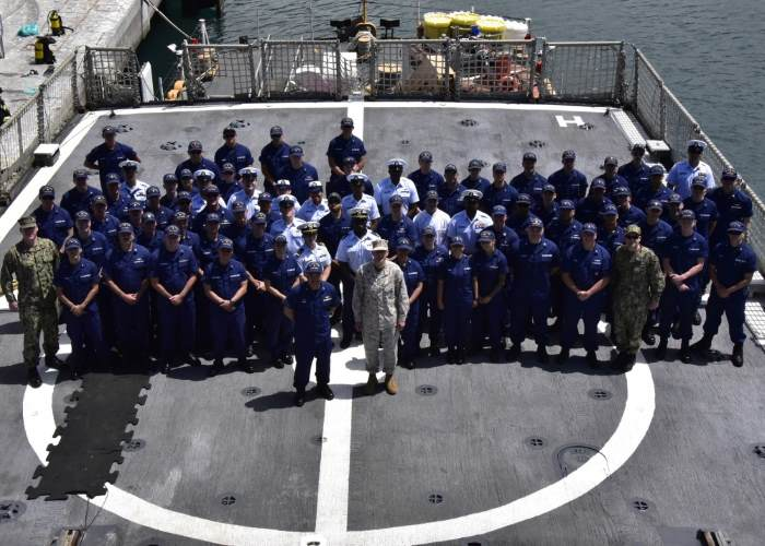 US Marine Corps General Thomas D Waldhauser, commander of US Africa Command (AFRICOM), took part in a group photo with the ship's company of the US Coast Guard Cutter Thetis (WMEC-910), on 8 May during a visit to the cutter in Funchal, Madeira. US Coast Guard photo by Petty Officer 2nd Class Jonathan Lally. Photo: USGC ©, featured in Africa PORTS & SHIPS maritime news online