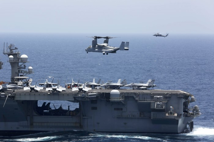 An MV-22 Osprey from Marine Medium Tiltrotor Squadron (VMM-264) prepares to land on the flight deck of the Nimitz-class aircraft carrier USS Abraham Lincoln (CVN 72). U.S. Navy photo by Mass Communication Specialist Seaman Tristan Kyle Labuguen/Released. ©, featured in Africa PORTS & SHIPS maritime news online