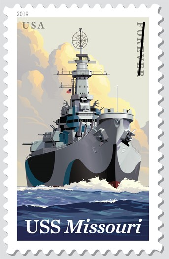 US Postal Service new Forever stamp featuring the battleship USS Missouri on the occasion of the 75th anniversary of that ship's commisioning, from a report in Africa PORTS & SHIPS maritimenews online