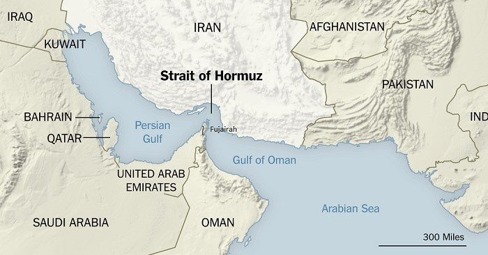 Map showing Styrait of Hormuz and locality of Fujairah, which features in news report in Africa PORTS & SHIPS maritime news online