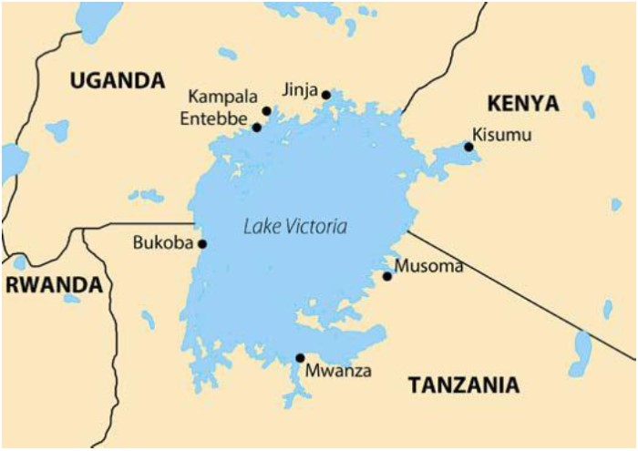 Lake Victoria showing location of Jinja wher the new ferry in under construction, featured in Africa PORTS & SHIPS maritime news online