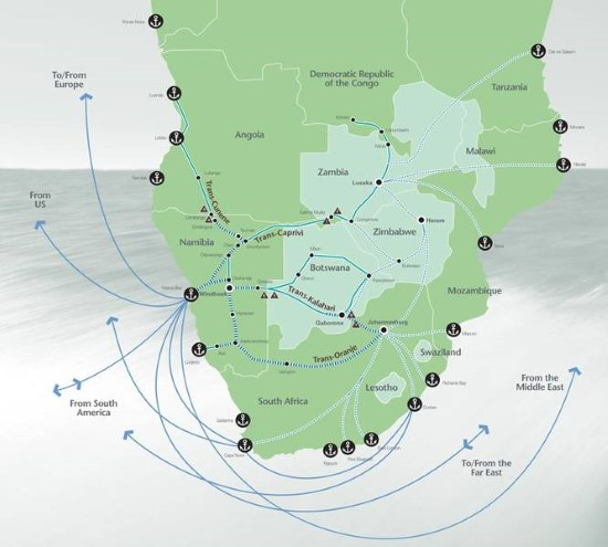 Walvis Bay land corridors and sea routes, featured in Africa PORTS & SHIPS maritime news online