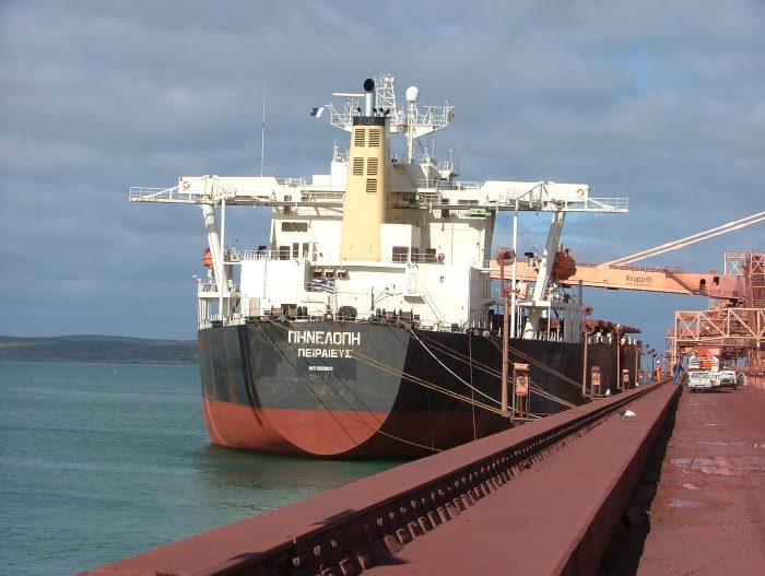 Destination reached. A Cape-sized bulker loads iron ore from the Saldanha terminal. Picture by Terry Hutson, featured in Africa PORTS & SHIPS maritime news