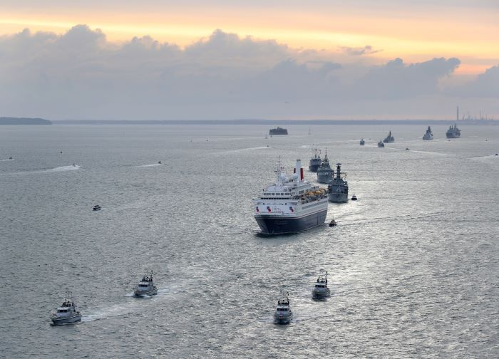 The Royal British Legion's chartered vessel Boudicca with 300 veterans of the original landings on board seen here outward bound from Portsmouth to Normandy flanked by warship escorts. Picture: MoD Crown Copyright 2019 ©, featured in Africa PORTS & SHIPS maritime news online