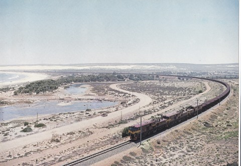 Nearing its destination, the iron ore port at Saldanha is another long heavy-haul TFR train, featured in Africa PORTS & SHIPS maritime news