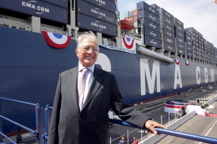 Jacques R Saadé in front of one of his container ships, the Christophe Colomb, featured in Africa PORTS & SHIPS maritime news