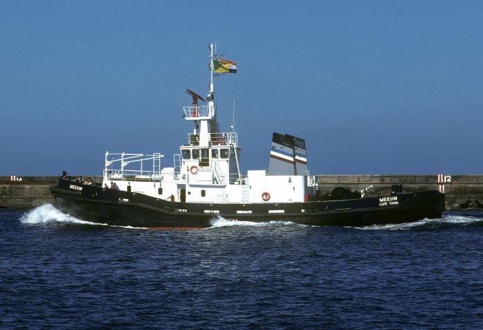 Tug Meeuw undergoing her sea trials in 1977. Picture: Trevor Jones, featured in Africa PORTS & SHIPS maritime news