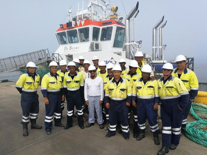 The Port Nolloth crew, featured with an article about AMSOL in Africa PORTS & SHIPS maritime news