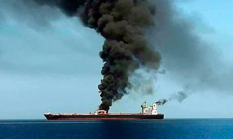 Tanker attacked Tursday 13 June in Hormus Strait, picture IRIB News, featured in Africa PORTS & SHIPS maritime news