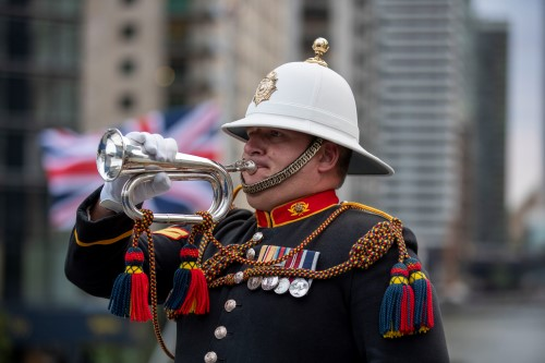 A Bugler from the Royal Marine Band in HMS Enterprise. MoD Crown Copyright 2019 ©, featured in Africa PORTS & SHIPS maritime news