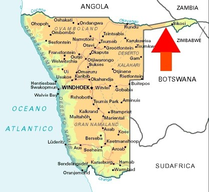Map of Namibia and Caprivi Strip, featured in Africa PORTS & SHIPS maritime news