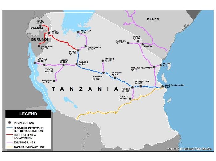 Map showing existing and proposed Tanzanian railway network. Map Railway Gazette & US National Parks, featured in Africa PORTS & SHIPS maritime news