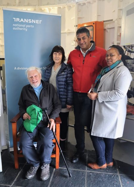 Bergvliet resident Dr Fred Wannenburgh (seated), 80, was the oldest visitor to the tallest cast-iron lighthouse on 2 July 2019, in celebration of World Marine Aids to Navigation Day. He is pictured with Katherine Sinden (left), Robin Poggenpoel (middle) and Tembisa Niselo (right) from TNPA Lighthouse and Navigational Systems., featuring in Africa PORTS & SHIPS maritime news