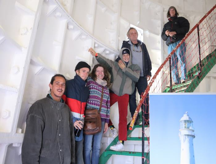 False Bay College lecturer Johan van Zyl and family braved the wind and the rain to visit the Slangkoppunt Lighthouse on 2 July, featured in Africa PORTS & SHIPS maritime news