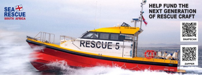 Alick Rennie, NSRI STation 5's new sea rescue vessel, which was used in Tuesday's rendezvous with a bulker off the Durban coast,which featured in a news report in Africa PORTS & SHIPS maritime news
