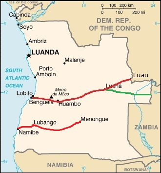 Map of Angola with Mocamedes Railway in the far south of the country, inland from Namibe, featured in Africa PORTS & SHIPS maritime news