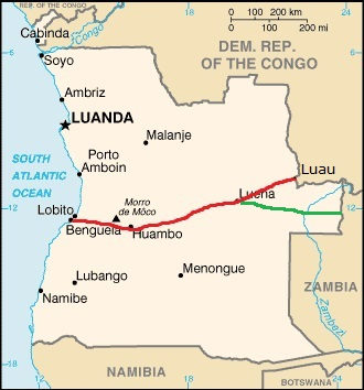 Angola, showing route of the Benguela Railway from the port of Lobito across central Angola to the DRC border (marked in red), reported in Africa PORTS & SHIPS maritime news
