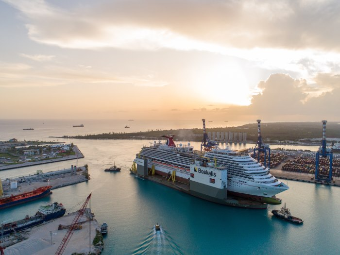BOKA Vanguard with Carnival Vista on board arrives in Freeport. Picture: Boskalis, featured in Africa PORTS & SHIPS maritime news