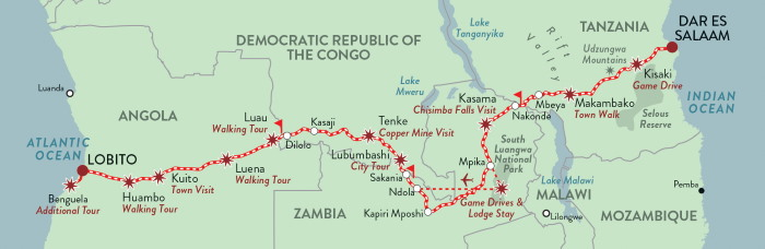 The route between Dar es Salaam and the Angolan port city of Lobito, featured in Africa PORTS & SHIPS maritime news