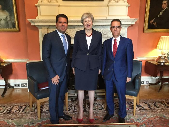 Left to right – The Hon Fabian Picardo, Chief Minister of Gibraltar, Prime Minister Theresa May and Dr Joseph Garcia, Deputy Chief Minister of Gibraltar at No 10 Downing Street where they gathered for talks on 17 July. Picture: Government of Gibraltar, Crown Copyright 2019 ©, as reported in Africa PORTS & SHIPS maritime news