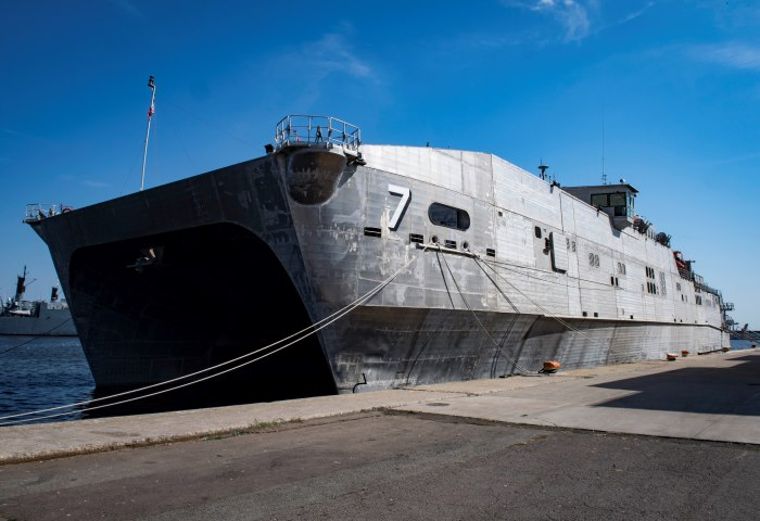 The Spearhead-class expeditionary transport ship USNS Carson City T-EPF-7 sits pierside before departing Naval Station Rota, Spain, in support of the ship's 2019 Africa Partnership Station (APS) deployment on 2 July 2019. APS is NAVAF's flagship maritime security cooperation program focusing on maritime safety and security through increased maritime awareness, response capabilities, and infrastructure. Picture by Mass Communication Specialist 2nd Class Sara Eshleman, featured in Africa PORTS & SHIPS maritime news