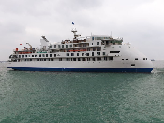 Cruise ship Greg Mortimer in the water after launching, featured in Africa PORTS & SHIPS maritime news