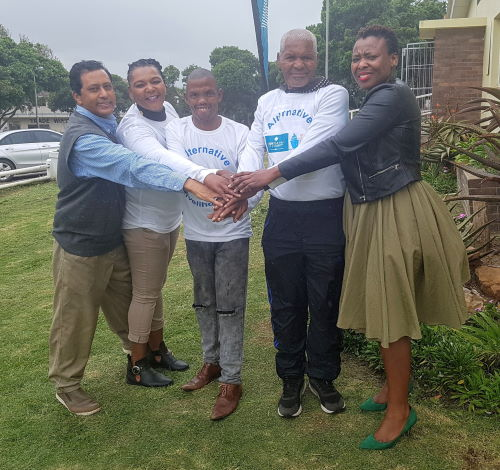 Kenton-on-Sea: Celebrating the launch of the Alternative Livelihoods Project for fishers in Kenton-on-Sea in the Eastern Cape are, from left, FADI project manager Sulaiman Appoles, Ekuphumleni Co-op secretary Busisiwe Tobi, co-op chair Mzamo Marwanqana, fisherman Willie Peters, and SAIMI research associate Akhona Baninzi, featured in Africa PORTS & SHIPS maritime news