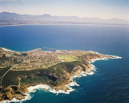 Mossel Bay and its port in the middle distance, situated in the heart of South Africa's Garden Route, featured in Africa PORTS & SHIPS maritime news