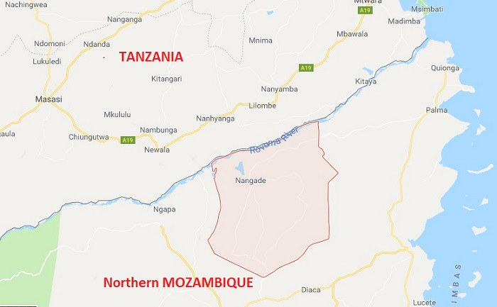 Map showing location of Nangade village near the Rovuma River border with Tanzania, featured in Africa PORTS & SHIPS maritime news