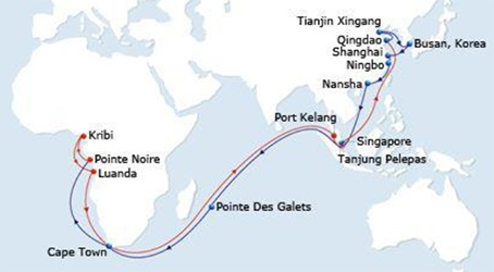 CMA CGM Asia-West Africa service, featured in Africa PORTS & SHIPS maritime news