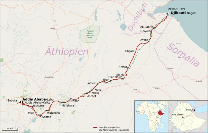 Railway map which shows the likely route also of the new four-lane highway from Adama to Awash, featured in Africa PORTS & SHIPS maritime news
