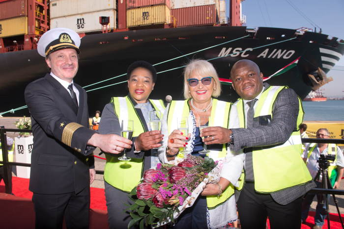 Captain of the MSC Aino Aleksandr Lebedev, MEC for Economic Development, Tourism and Environmental Affairs, Mrs Nomusa Dube – Ncube, Director of MSC Depots Mrs Sandra Sarno and Premier of KwaZulu-Natal, Mr Sihle Zikalala at the naming ceremony of the vessel in the Port of Durban. Picture: Val Adamson, featured in Africa PORTS & SHIPS maritime news