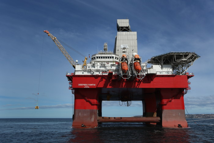 The Deepsea Yantai, a semi-submersible rig platform vessel which arrived in Mossel Bay on Monday this week. Picture: Port of Mossel Bay, Featured in Africa PORTS & SHIPS maritime news